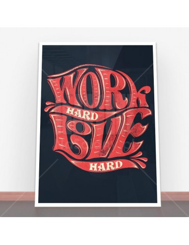 Plakat Work hard, love hard